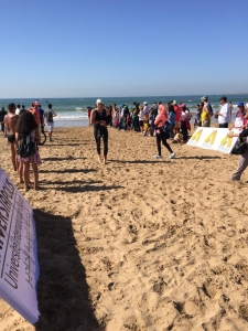 Argan Sports Triathlete getting out of the water at Agidir Triathlon