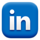 A logo saying follow us on > Linkedin