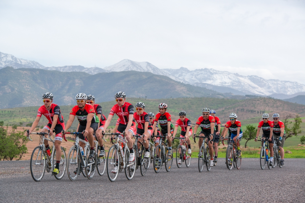 Argan Sports Riders together with a UK pro cycle team in the Atlas Mountains in Morocco