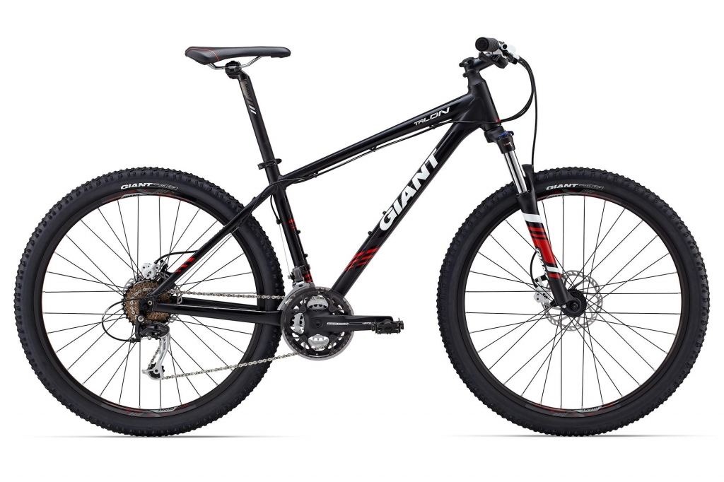 Image of a black and red single suspension MTB bike used by Argan Sports in the Palmeraie Tours