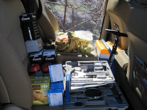 Photo of the Argan Sports van filled with spares and tools and food