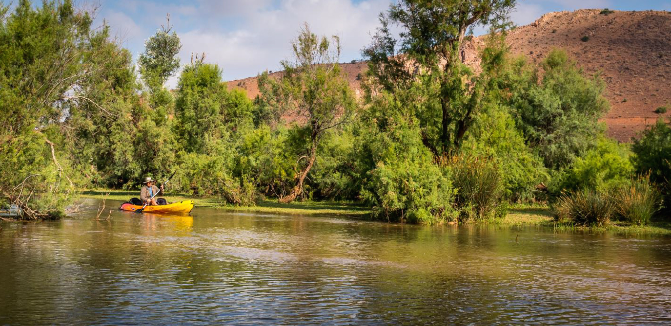 Kyaking with Argan Sports on a river in Morocco